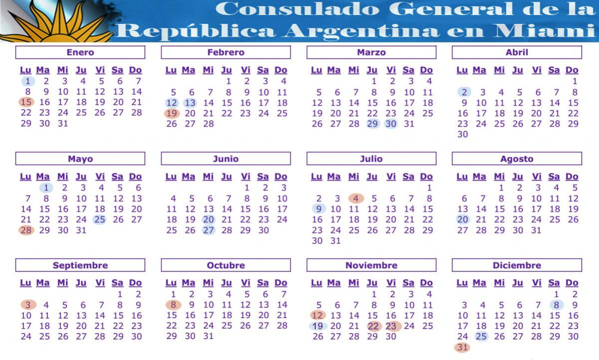 Calendario Diciembre 2018 Argentina.Feriados Consulado General Y Centro De Promocion En Miami